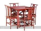 【红木家具】红酸枝 罗锅枨餐桌五件套 桌椅