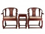 【红木家具】红酸枝 带拖泥皇宫圈椅三件套