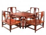 【红木家具】红酸枝 矮南官帽椅 茶桌五件套