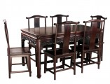 【红木家具】大叶紫檀 灵芝纹餐桌七件套件