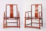 缅甸花梨扇面南官帽椅 仙源中式红木家具