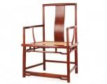 红酸枝扇面形南官帽椅 办公椅 仙源红木古典家具